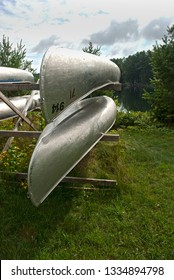 Canoe rack at a lake in Northern Ontario