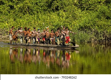 Canoe war ceremony of Asmat people, Irian Jaya Indonesia, May 2014.