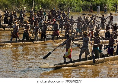 Canoe war ceremony of Asmat people, Irian Jaya Indonesia, May 2014.