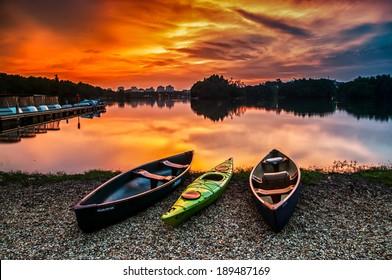 Canoe at wetland Putrajaya during sunset