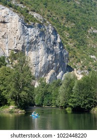 Canoeing the Ariege river in summer, french pyrenees