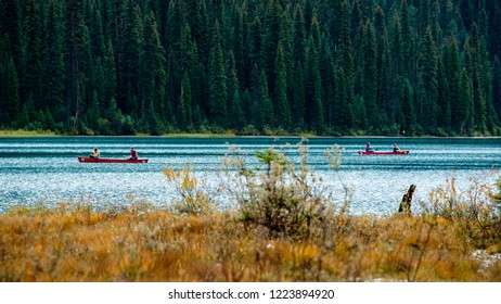 Canoeing couples, September 16th, 2018. Emerald Lake, Yoho National Park, British Columbia, Canada.