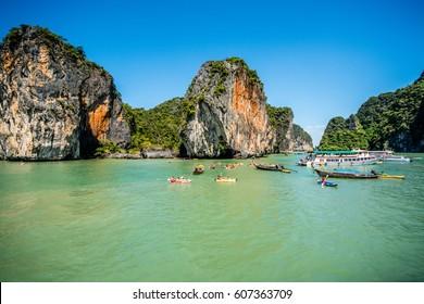 Canoeing at Koh Hong Island Phang Nga, Thailand – December 30, 2015 : Tourist Canoeing Program at the famous island :- Koh Hong Phang Nga Bay near Phuket, Andaman Sea.