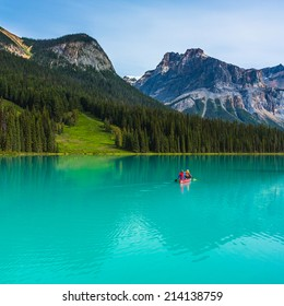 Canoeing on Emerald Lake in the rocky mountains canada