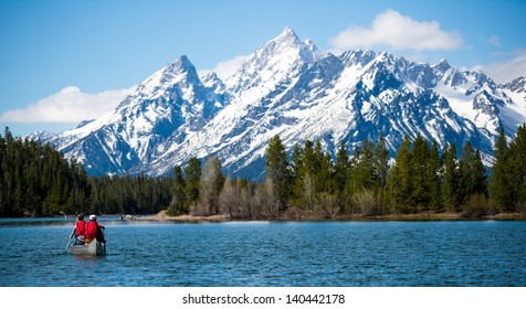 Canoeing on Jackson Lake in the Grand Tetons