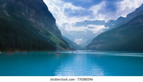 Canoeing on lake Louise, Canada