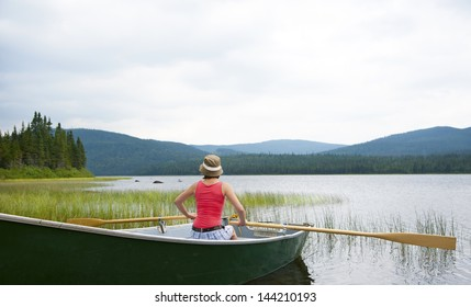 Canoeing on Lake Noel in Jacques Cartier National Park, Canada