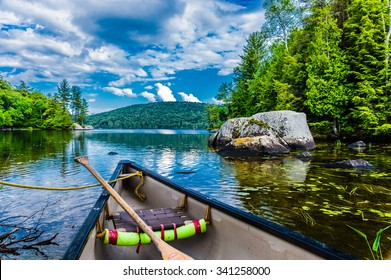 Canoeing on a lake in Quebec, Canada. It created a true Canadian feeling.