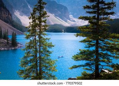 Canoeing on moraine lake, Canada
