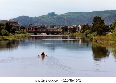 Canoeing on the Necanium river  in Seaside, Oregon.