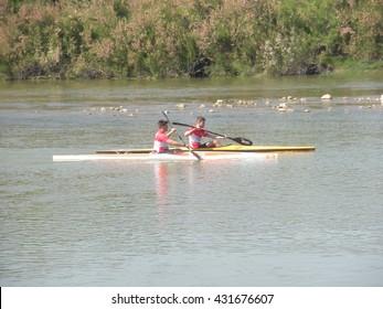 Canoeing training. Taken on the 5th of June of 2016 in Zaragoza, Spain