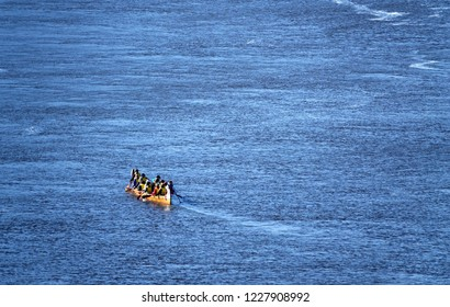 Canoeist on water