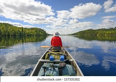 Canoer on Kekekabic Lake in the Boundary Waters in Minnesota