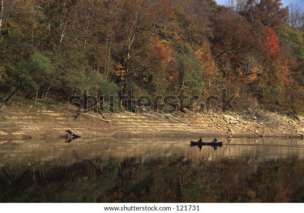 canoers on the Cumberland River in Kentucky, USA