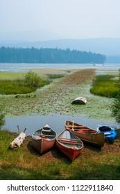 Canoes at the lake.