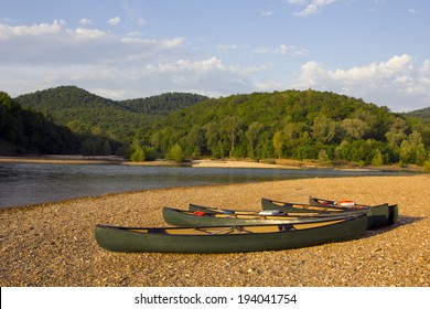 Canoes on the bank of the Buffalo River, Arkansas