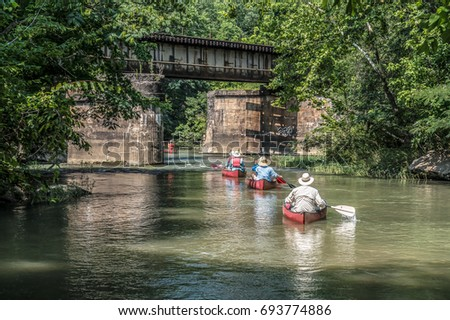 Canoes on the Cahaba River in Helena, AL