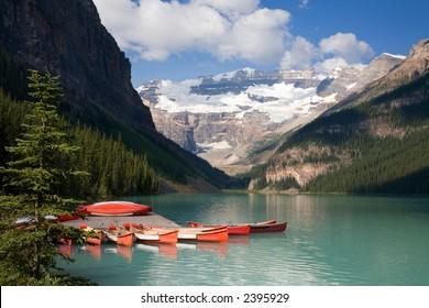 Canoes on Lake Louise