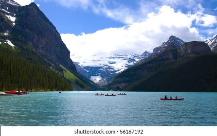 Canoes on Lake Louise Banff National Park