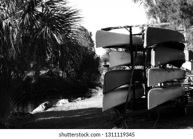 Canoes on a rack