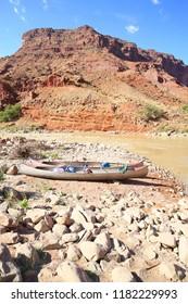 Canoes on a riverbank, Colorado Riverway Recreation Area, Utah, USA