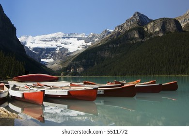 Canoes on wharf at Lake Louise