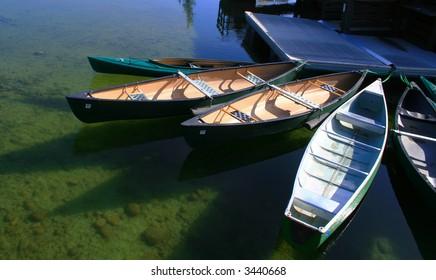 Canoe's ready to rent on Jenny Lake, Grand Teton National Park, Wyoming