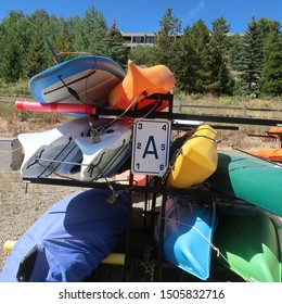 Canoes stacked on a rack