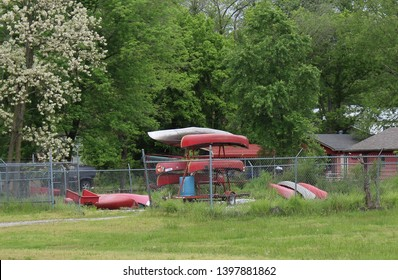 Canoes Stacked in Rocheport, Missouri