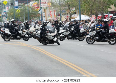 Canoga Park, CA, USA - May 25, 2015: Police Department motorcycle officers performing during Memorial Day Parade
