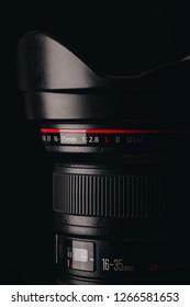Canon 16-35 f/2.8 lens. Studio shot of a full-frame DSLR camera lens. L series professional lens.
