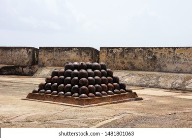 canon and canon balls in ancient fort
