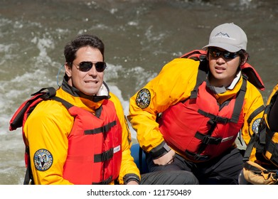 CANON CITY, CO/USA - MAY 19:Colorado State Exec. Director of Dept of Interior (left) rafts the site of the Jean Claude/Cristo over the river project on the Arkansas River on May 19,2012 in Canon City