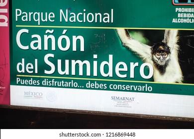 Canon del Sumidero sign. Chiapas,  Mexico, July 2015.