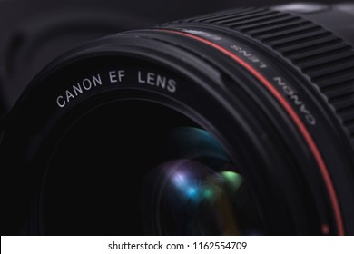 Canon lens closeup. Ekaterinburg, Russia - August 23, 2018