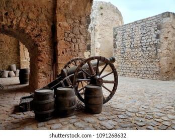 Canon on the castle of Dalt Vila. Ibiza Island. Spain