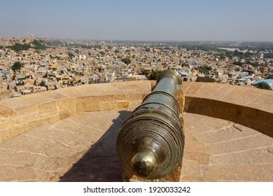 Canon on top of Jaisalmer fort, Jaisalmer, Rajasthan, India.