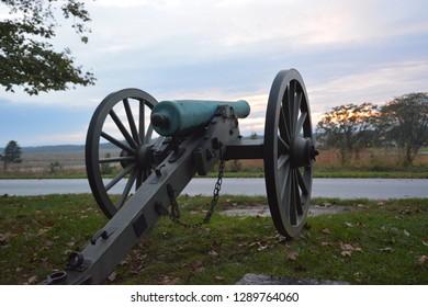 Canon at sunset.  Gettysburg.
