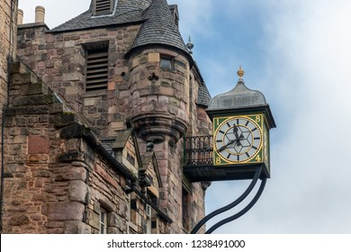 Canongate Tolbooth with bell tower and clock along famous Royal Mile in Edinburgh, Scotland