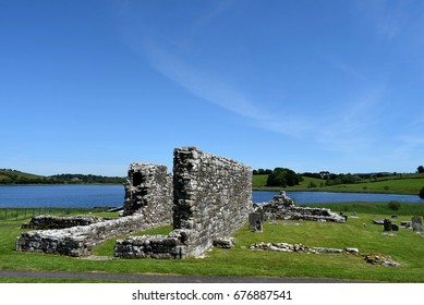 Canon's House and Lower Graveyard at the Lower Church (Teampull Mor)  Devenish Island, Lower Lough Erne, County Fermanagh, Northern Ireland