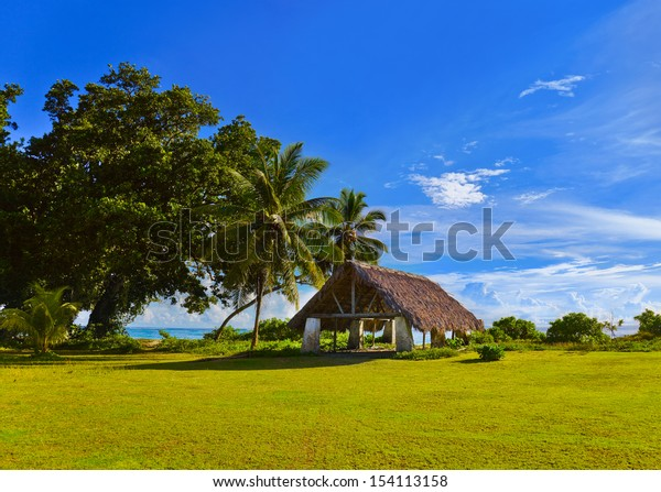 Canopy at tropical beach - travel background