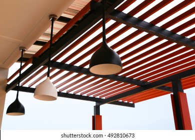 canopy from wooden levels against the sky