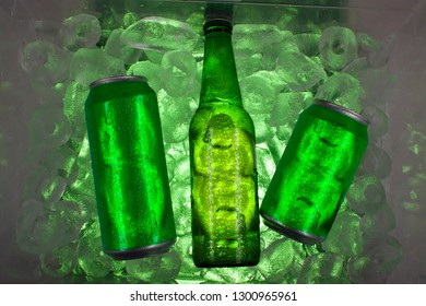 Cans and bottle with cold drinks can be alcohol, juice, soda, water are inside cooler surrounded by ice
