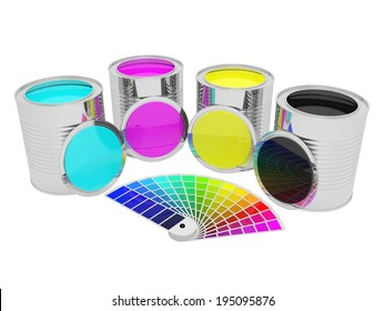 Cans with CMYK color paint and color palette guide for print, isolated over white