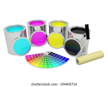 Cans with CMYK color paint and roller brush, isolated over white