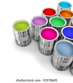 cans with colorful paints for painting walls in new house