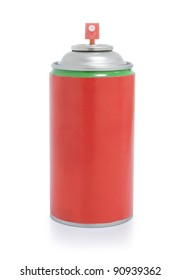 cans of red spray isolated on white background