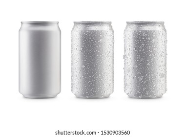 Cans in silver isolated on white background,canned with water drops,canned with water drops and ice