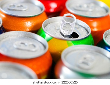 Cans of sweet drinks (or beer). Cooling frozen and with water drops