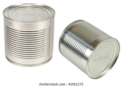 cans under the white background